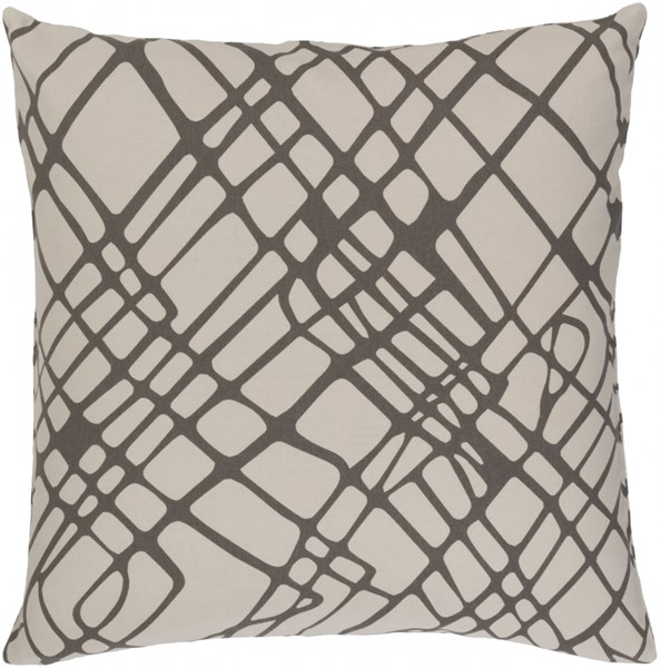 Somerset Gray Ivory Fabric Abstract Throw Pillow (L 20 X W 20 X H 5) SMS023-2020D