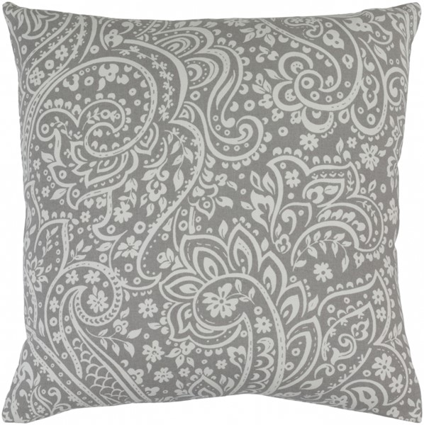 Somerset Gray Ivory Fabric Throw Pillow (L 22 X W 22 X H 5) SMS024-2222D