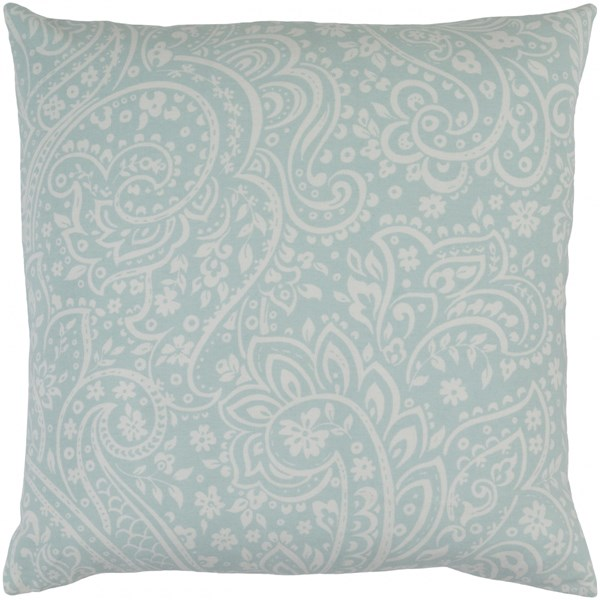 Somerset Sea Foam Ivory Fabric Square Throw Pillow (L 18 X W 18 X H 4) SMS025-1818P