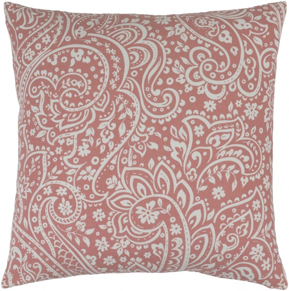 Somerset Coral Ivory Fabric Throw Pillow (L 18 X W 18 X H 4) SMS027-1818D