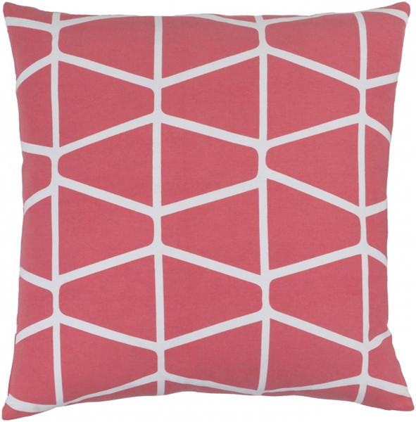 Somerset Hot Pink Ivory Fabric Throw Pillow (L 18 X W 18 X H 4) SMS029-1818D