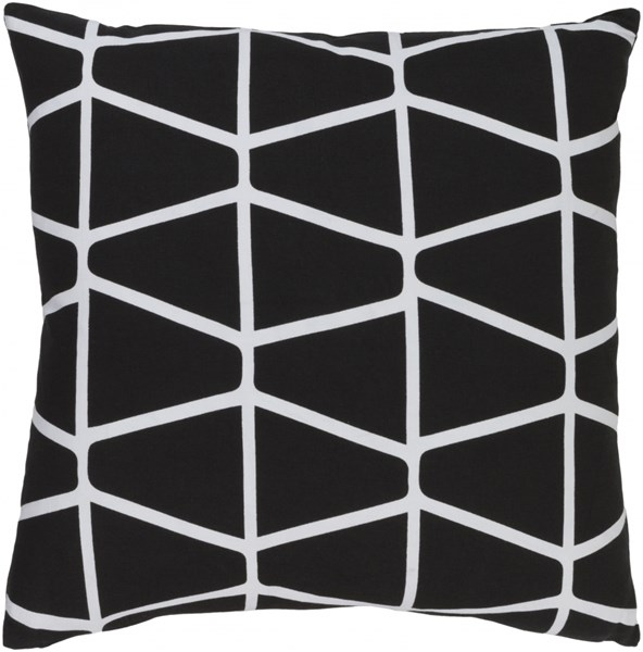 Somerset Black Ivory Fabric Down Throw Pillow (L 22 X W 22 X H 5) SMS034-2222D