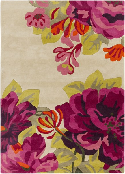 Sanderson Contemporary Beige Lime Cherry Fabric Area Rugs 1568-VAR1
