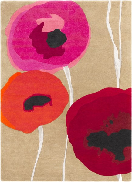Sanderson Contemporary Olive Cherry Poppy Fabric Area Rugs 746-VAR1