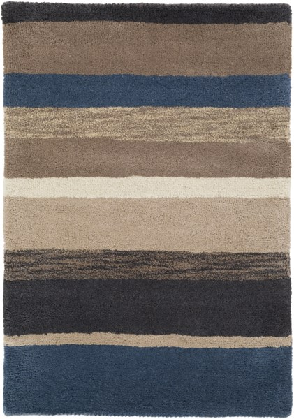 Sanderson Ivory Black Charcoal Navy Taupe Wool Area Rug - 24 x 36 1570-VAR1
