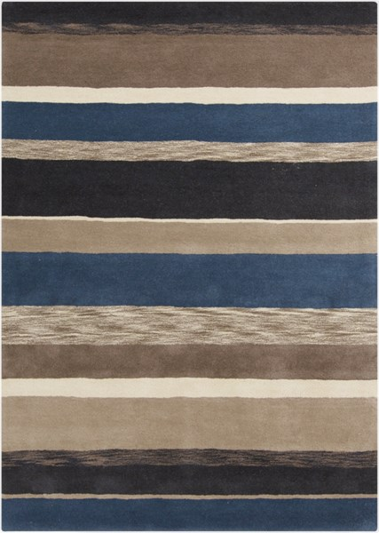 Sanderson Ivory Black Charcoal Navy Taupe Wool Area Rug - 60 x 96 SND4518-58