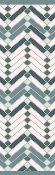Savannah Contemporary Teal Ivory Gray Fabric Runner (L 96 X W 30) SNH8000-268