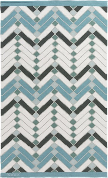 Savannah Contemporary Teal Ivory Gray Fabric Area Rug (L 90 X W 60) SNH8000-576