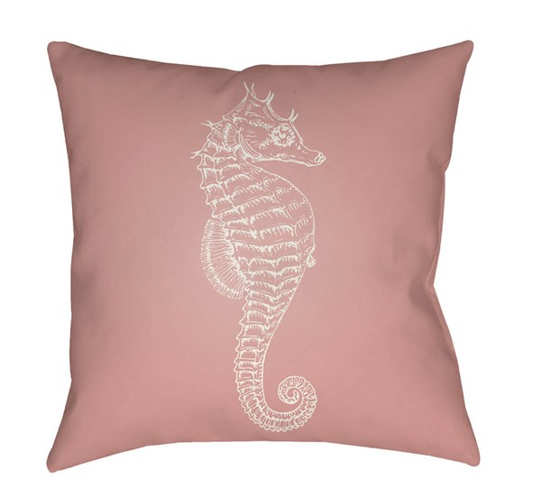 Surya Seahorse Coral White Pillow Cover - 18x18 SOL057-1818