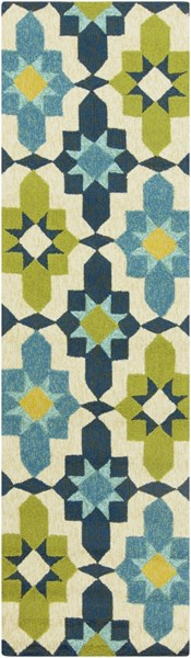 Storm Contemporary Lime Teal Lemon Polypropylene Runner (L 96 X W 30) SOM7740-268
