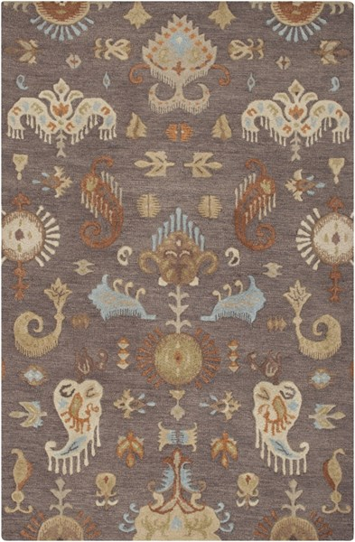 Sprout Gray Rust Sky Blue Fabric Area Rug (L 96 X W 60) SRT2005-58