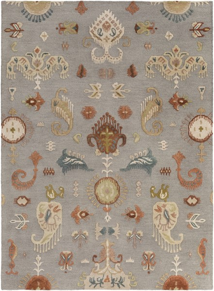 Sprout Moss Rust Slate Gray Fabric Area Rug (L 132 X W 96) SRT2007-811