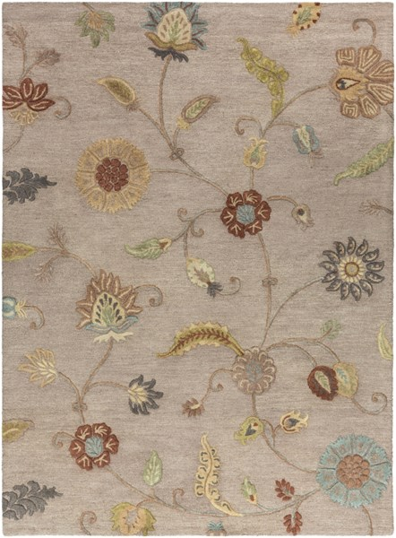 Sprout Gray Rust Olive Ivory Fabric Area Rug (L 132 X W 96) SRT2009-811