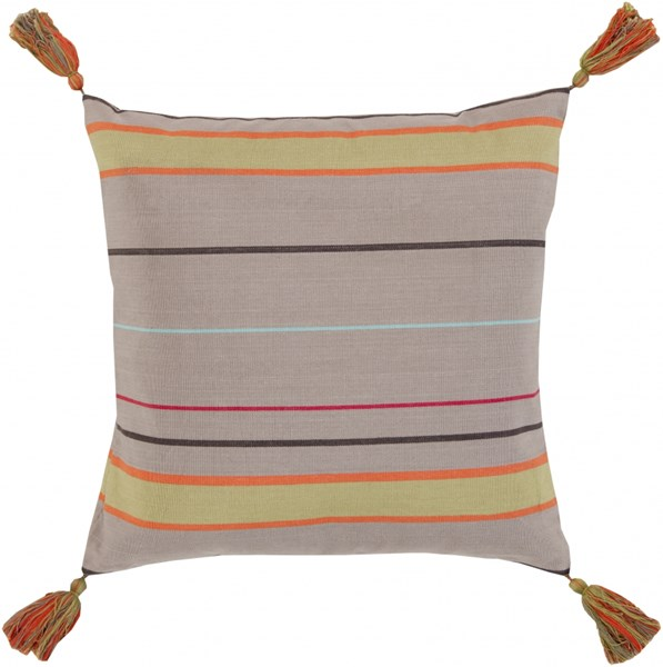 Stadda Stripe Taupe Olive Mint Fabric Throw Pillow (L 18 X W 18 X H 4) SS001-1818P