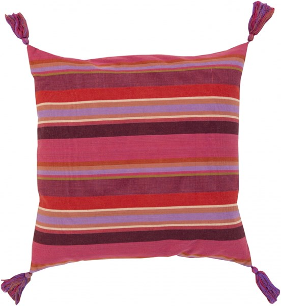 Stadda Stripe Contemporary Pink Rust Eggplant Fabric Throw Pillows 13427-VAR1
