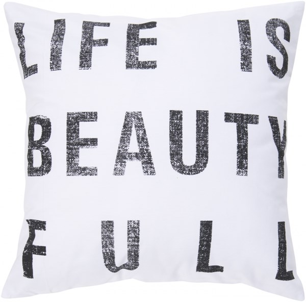 Typography Ivory Black Down Cotton Throw Pillow - 22x22x5 ST081-2222D