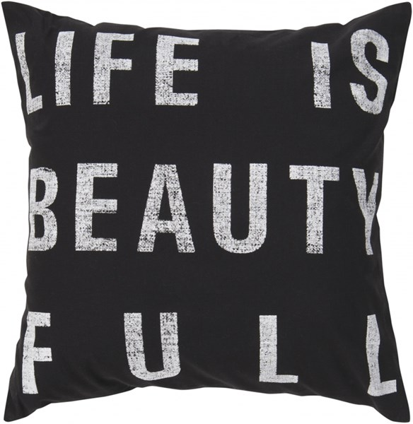 Typography Black Ivory Poly Cotton Throw Pillow - 22x22x5 ST082-2222P