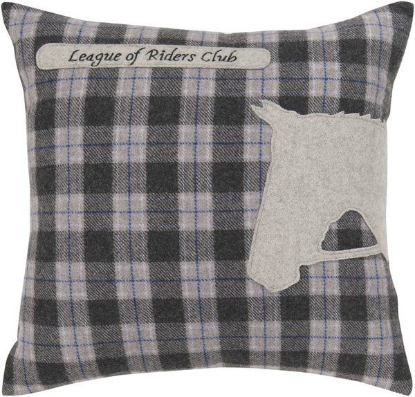 Surya Black Gray Blue Wool Fabric Square Pillow Kit ST110-VAR
