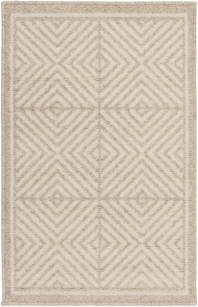 Stockholm Contemporary Ivory Beige Fabric Power Loomed Area Rugs 12732-VAR1