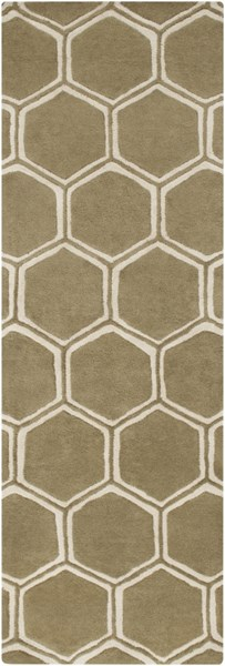 Stamped Contemporary Olive Beige Fabric Runner (L 96 X W 30) STM801-268