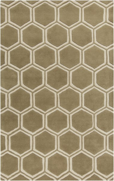 Stamped Contemporary Olive Beige Fabric Area Rug (L 96 X W 60) STM801-58