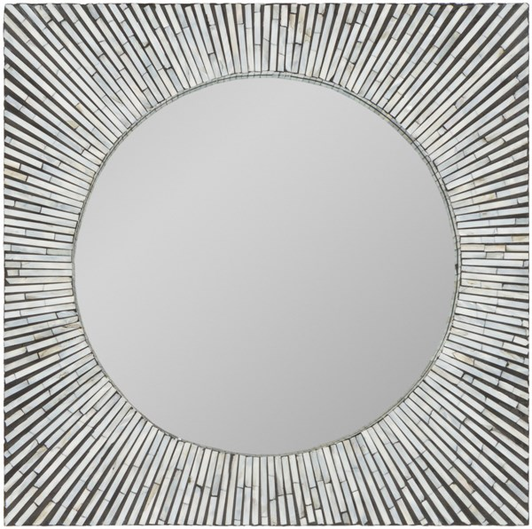 Stanton Black Ivory Mother of Pearl Wall Mirror - 23.6x23.6 STT-8000
