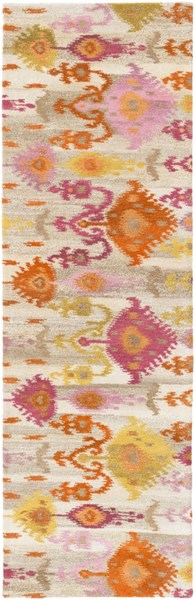 Surroundings Orange Olive Light Gray New Zealand Wool Runner - 30 x 96 SUR1016-268