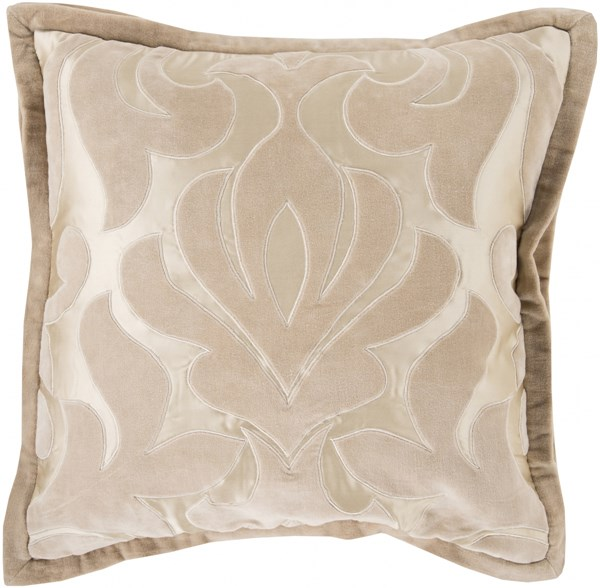 Sweet Dreams Taupe Beige Down Cotton Velvet Throw Pillow - 20x20x5 SWD002-2020D