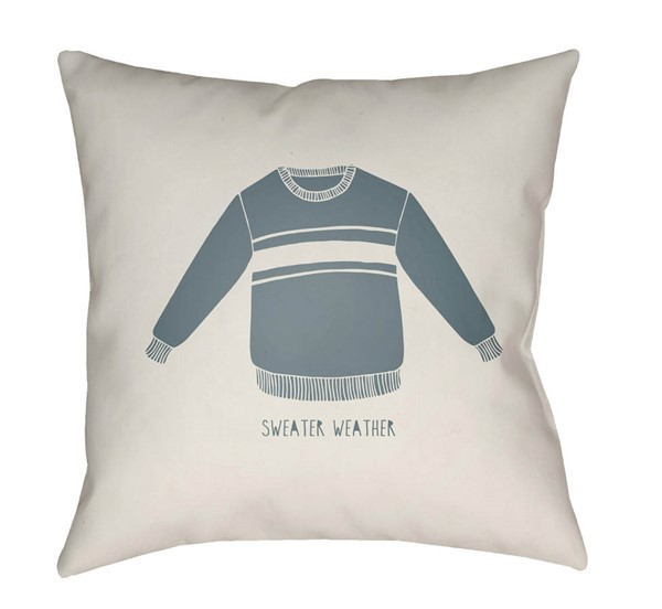Surya Sweater Weather White Sky Blue Pillow Cover - 18x18 SWR001-1818
