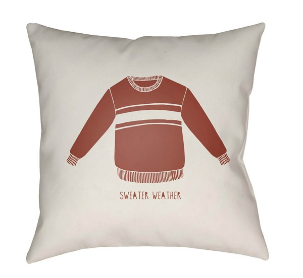 Surya Sweater Weather White Rust Pillow Cover - 20x20 SWR002-2020