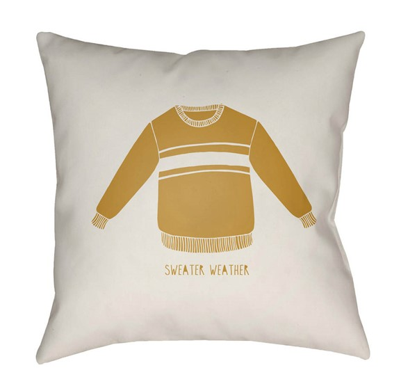 Surya Sweater Weather White Golden Pillow Cover - 18x18 SWR004-1818