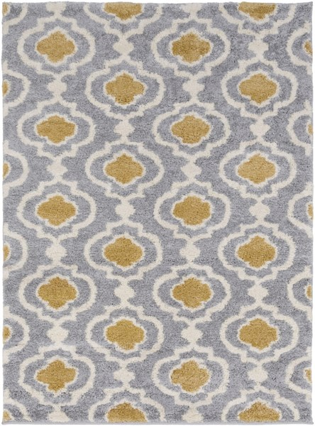 Swift Light Gray Gold Ivory Polypropylene Area Rug (L 87 X W 63) SWT4005-5373