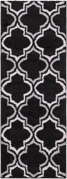 Swift Black Light Gray Ivory Polypropylene Area Rug - 31 x 87 SWT4018-2773