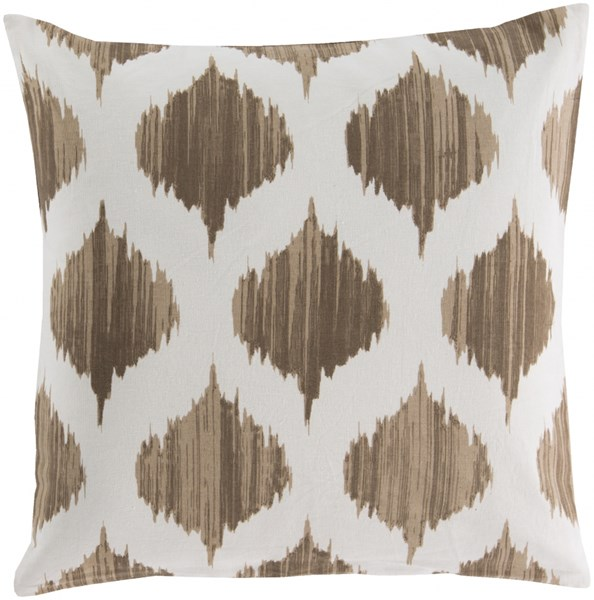 Ogee Mocha Ivory Poly Cotton Throw Pillow - 22x22x5 SY018-2222P