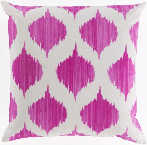 Ogee Magenta Ivory Poly Cotton Throw Pillow - 18x18x4 SY027-1818P