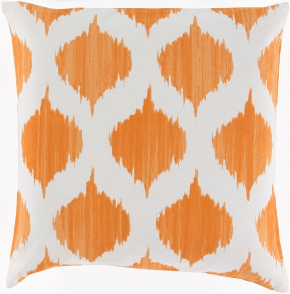 Ogee Burnt Orange Ivory Poly Cotton Throw Pillow - 22x22x5 SY031-2222P