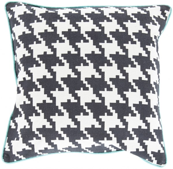 Houndstooth Charcoal Ivory Aqua Down Cotton Throw Pillow - 18x18x4 13268-VAR1