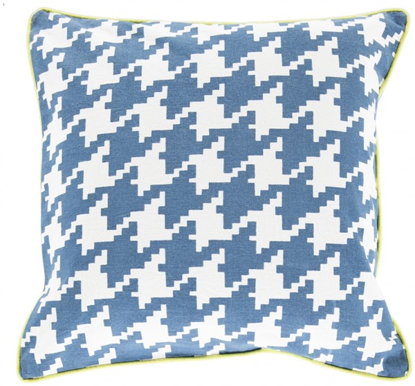 Houndstooth Slate Ivory Lime Down Cotton Throw Pillow - 18x18x4 SY035-1818D