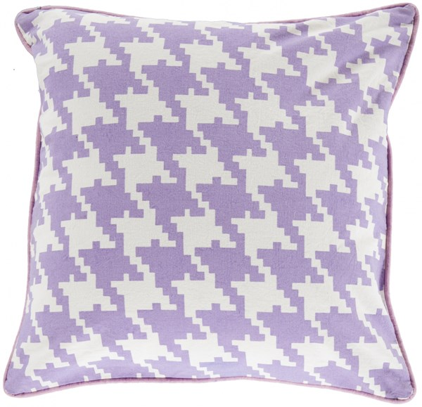 Houndstooth Mauve Ivory Carnation Down Cotton Throw Pillow - 22x22 SY036-2222D