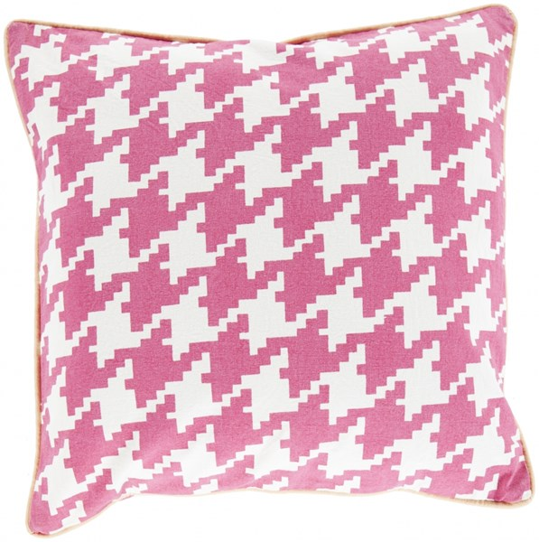 Houndstooth Hot Pink Ivory Peach Down Cotton Throw Pillow - 20x20x5 SY037-2020D