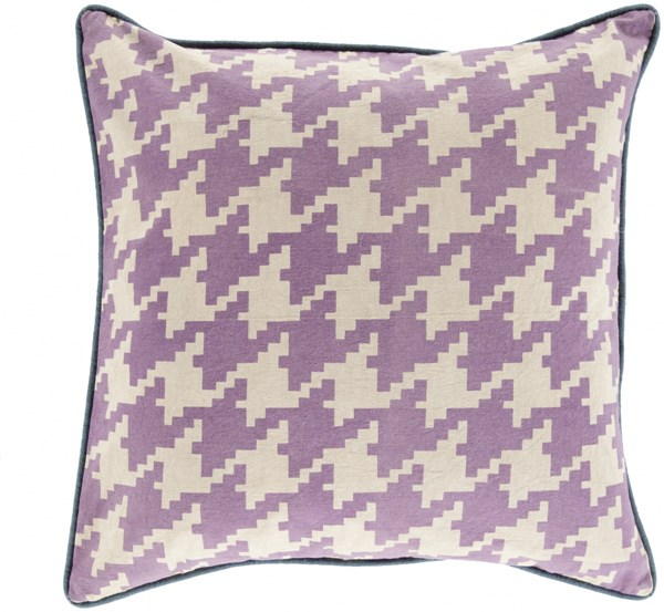 Houndstooth Mauve Beige Navy Poly Cotton Throw Pillow - 20x20x5 SY039-2020P