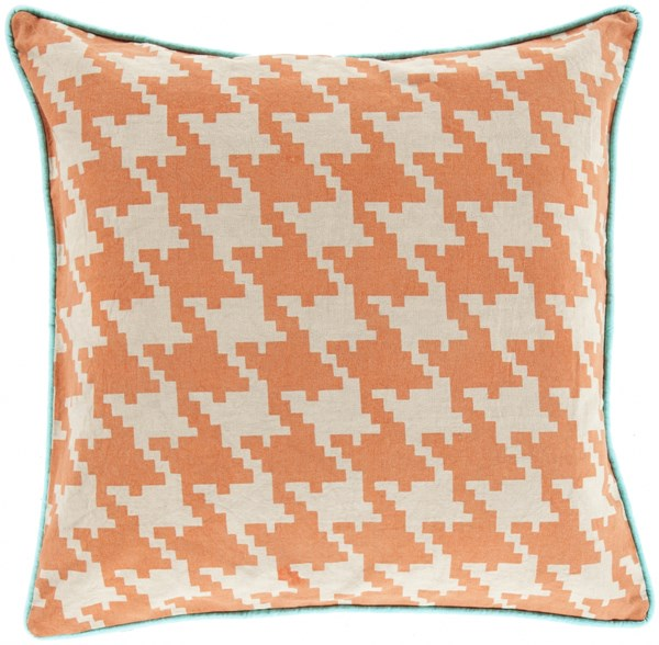 Houndstooth Orange Beige Aqua Poly Cotton Throw Pillow - 18x18x4 SY040-1818P