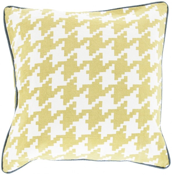 Houndstooth Lime Ivory Navy Poly Cotton Throw Pillow - 20x20x5 SY041-2020P