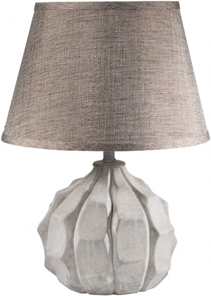 Sydney Washed Light Gray Resin Metallic Linen Table Lamp - 13x13 SYLP-001