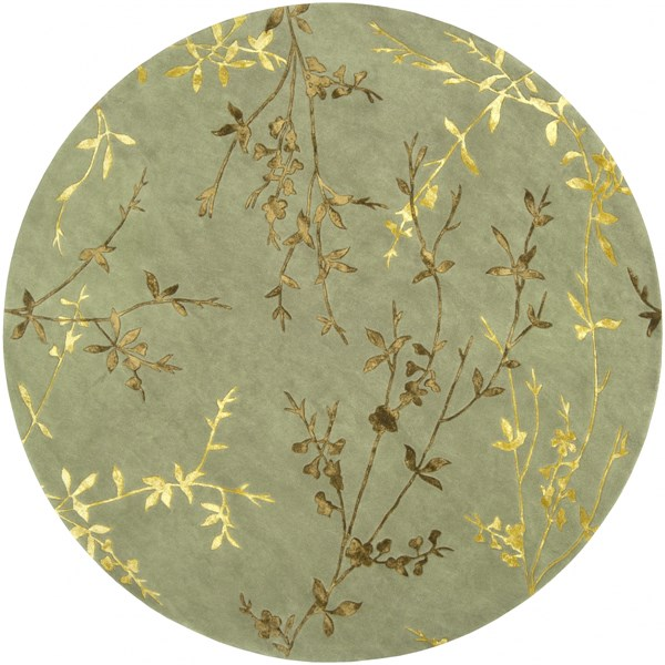 Tamira Moss Mocha Gold Polyester Wool Round Area Rug - 96 x 96 TAM1001-8RD