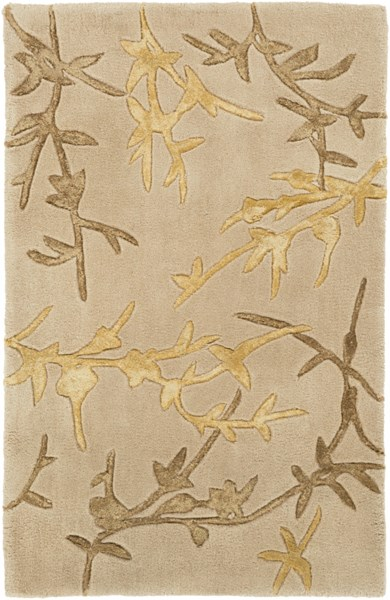 Tamira Taupe Gold Olive Polyester Wool Area Rug - 24 x 36 TAM1004-23