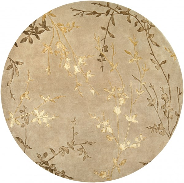 Tamira Taupe Gold Olive Polyester Wool Round Area Rug - 96 x 96 TAM1004-8RD