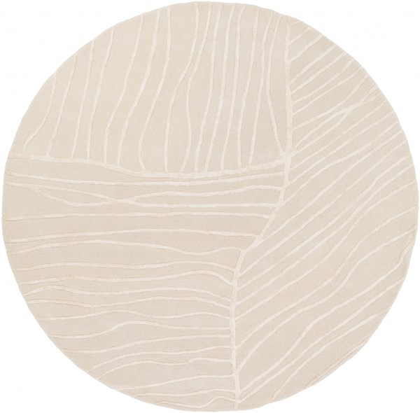 Tamira Ivory Polyester Wool Round Area Rug - 96 x 96 TAM1046-8RD