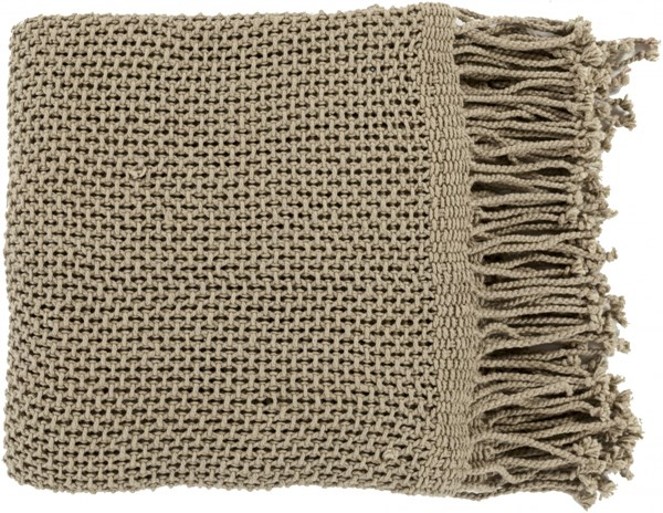 Tibey Traditional Olive Cotton Rectangle Throws TBE5003-5070