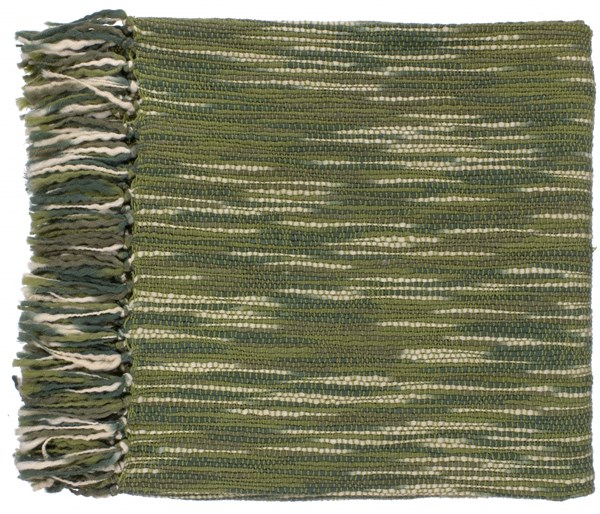 Teegan Traditional Olive Moss Ivory Acrylic Throws TEE1006-5578